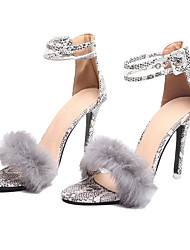 cheap -Women's Heels Stiletto Heel Round Toe Rabbit Fur / PU Fall / Spring & Summer Black / Light Grey / Party & Evening