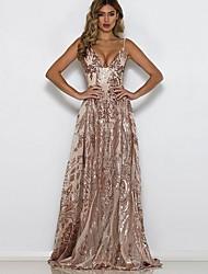 cheap -Women's Maxi Sheath Dress - Sleeveless Floral Sequins Deep V Cocktail Party Slim Gold S M L XL