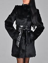 Недорогие -Жен. Повседневные / На выход Осень / Зима Длинная Искусственное меховое пальто, Однотонный Хомут Длинный рукав Искусственный мех Черный