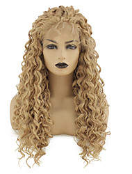 cheap -Synthetic Lace Front Wig Loose Curl Kardashian Middle Part with Baby Hair Lace Front Wig Blonde Long Strawberry Blonde Synthetic Hair 22-26 inch Women's Heat Resistant Women Middle Part Blonde