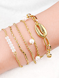 cheap -5pcs Women's Vintage Bracelet Earrings / Bracelet Pendant Bracelet Layered Shell Simple Classic Vintage Ethnic Fashion Alloy Bracelet Jewelry Gold For Daily School Street Holiday Festival