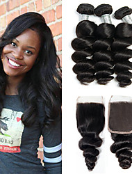 cheap -3 Bundles with Closure Malaysian Hair Loose Wave Virgin Human Hair 100% Remy Hair Weave Bundles Extension Hair Weft with Closure 8-20 inch Natural Color Human Hair Weaves Lustrous Women New Arrival
