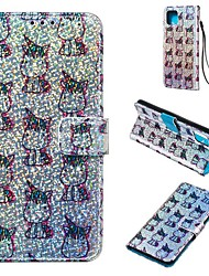 Недорогие -чехол для google pixel 4 / google pixel 4 xl кошелек / держатель для карты / с подставкой для всего тела для животных / блестящий блеск искусственная кожа