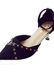 cheap -Women's Heels Kitten Heel Rivet PU Casual Summer Black / Red / Daily