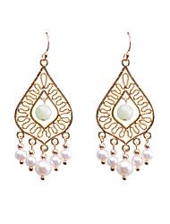 cheap -Women's Freshwater Pearl Hoop Earrings Earrings Chandelier Blessed Statement European Pearl Earrings Jewelry White For Party 2pcs