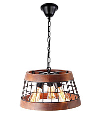 cheap -QINGMING® 3-Light Geometrical Chandelier Downlight Painted Finishes Wood Metal Wood / Bamboo Mini Style 110-120V / 220-240V