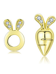 cheap -Rabbit and Carrot Stud Earrings for Girls 925 Sterling Silver Gold Color Clear CZ Studs Jewelry Brincos 2019 New Carrot height and width 1.1*0.5cm rabbit height and width 1*0.6cm