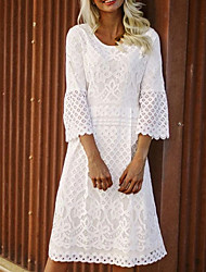 cheap -Women's A-Line Dress Midi Dress - 3/4 Length Sleeve Solid Colored Plus Size Hot White S M L XL