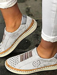 cheap -Women's Loafers & Slip-Ons Flat Heel Round Toe PU Summer Black / Wine / White / Daily