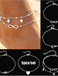 cheap -Ankle Bracelet Women's Body Jewelry For Gift Daily Alloy Silver Gold 5pcs