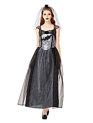 cheap -Ghostly Bride Cosplay Costume Masquerade Adults' Women's Cosplay Halloween Halloween Festival / Holiday Tulle Cotton / Polyester Blend Black Women's Carnival Costumes