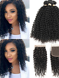 cheap -3 Bundles with Closure Brazilian Hair Kinky Curly Virgin Human Hair 100% Remy Hair Weave Bundles Natural Color Hair Weaves / Hair Bulk Extension Hair Weft with Closure 8-20 inch Natural Human Hair
