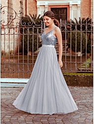 cheap -A-Line V Neck Floor Length Polyester / Nylon / Tulle Cute / Elegant Prom Dress with Sequin 2020
