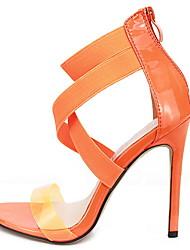 Недорогие -Жен. Сандалии Обувь для печати На шпильке Открытый мыс Полиуретан Лето Оранжевый / Хаки / Черный