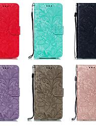 cheap -Phone Case For LG Full Body Case Leather LG V40 LG K30 LG G8 LG K50 Card Holder Flower / Floral PU Leather