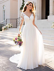 cheap -A-Line V Neck Chapel Train Chiffon / Satin Long Sleeve Romantic Illusion Sleeve Wedding Dresses with Buttons / Appliques 2020