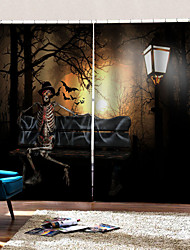 cheap -Factory Direct Price 3D Digital Printing Curtains Ready Made Halloween Silhouette Background Curtain Blackout Dust-proof 100% Polyester Curtain
