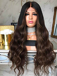 cheap -Synthetic Wig Body Wave Middle Part Wig Long Dark Brown / Dark Auburn Synthetic Hair 26 inch Women's Women Dark Brown
