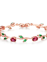 cheap -Rose Gold Color Leaf Chain & Link Bracelet with Red  Green AAA Zircon for Mother Gifts Jewelry Long 19 Egg-shaped Main Stone 5*7 Eye 5*3 mm