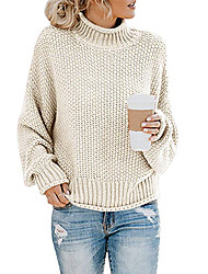 cheap -Women's Knitted Solid Color Pullover Long Sleeve Sweater Cardigans Turtleneck Fall Winter Black Blue Red