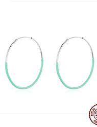 cheap -Big Round Circle Hoop Earrings for Women 925 Sterling Silver Blue Enamel Ear Hoops Female Fashion Bijoux 50mm BSE34141