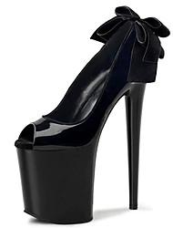 cheap -Women's Heels Cone Heel Peep Toe Bowknot PU(Polyurethane) Minimalism Summer Black / Leopard / White / Party & Evening / Color Block