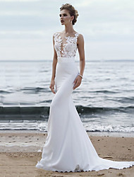 cheap -Mermaid / Trumpet Wedding Dresses Jewel Neck Chapel Train Chiffon Lace Regular Straps Mordern See-Through with Sashes / Ribbons Appliques 2020