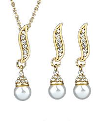 cheap -Women's Drop Earrings Pendant Necklace Sweet Fashion Imitation Pearl Earrings Jewelry Gold For School Festival Three-piece Suit