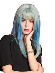 cheap -Synthetic Wig Bangs Straight Natural Straight Neat Bang With Bangs Wig Long Royal Blue Synthetic Hair 16 inch Women's Cosplay Women Synthetic Blue HAIR CUBE / Ombre Hair