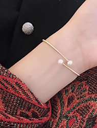 cheap -Women's Bracelet Bangles Cuff Bracelet Snake Precious Simple Classic Elegant Pearl Bracelet Jewelry Gold For Wedding Gift Holiday Promise Festival / Gold Plated