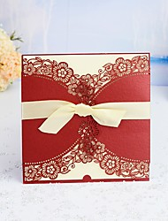 "cheap -Wrap & Pocket Wedding Invitations 30pcs - Invitation Cards / Thank You Cards / Response Cards Artistic Style / Modern Style / Floral Style Pearl Paper 6""×6"" (15*15cm) Satin Bow / Sash / Ribbon"