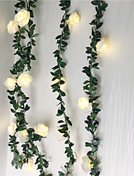 cheap -2pcs 1pc 10 20 40leds Rose Flower led Fairy String Lights 1.5m 3m 6m  Battery Powered Wedding Valentine's Day Event Party Garland Decor Luminaria