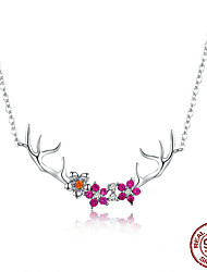 cheap -Women's Red AAA Cubic Zirconia Pendant Necklace Classic Elk Fashion S925 Sterling Silver Silver 43 cm Necklace Jewelry 1pc For Daily