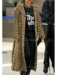cheap -Women's Daily Fall & Winter Long Faux Fur Coat, Leopard Peter Pan Collar Long Sleeve Polyester Brown