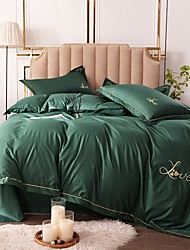 cheap -Duvet Cover Sets Solid Colored Rayon / Polyester Embroidery / Quilted 4 PieceBedding Sets