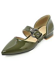 cheap -Women's Flats Low Heel Pointed Toe PU Sweet Spring & Summer Black / White / Green