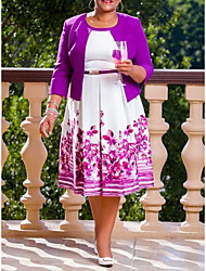 cheap -Women's Purple Dress Elegant Street chic A Line Floral Geometric Rose Pleated Print XL XXL / Belt Not Included