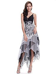 cheap -A-Line Spaghetti Strap Asymmetrical Chiffon / Lace White / Black Party Wear / Cocktail Party Dress with Sequin / Lace Insert 2020