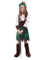 cheap -Robin Hood Cosplay Costume Masquerade Kid's Girls' Cosplay Halloween Party Halloween Festival Halloween Carnival Masquerade Festival / Holiday Plush Fabric Green Carnival Costumes Solid Colored