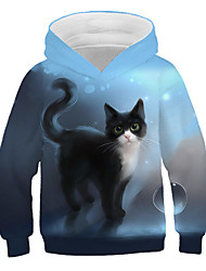 cheap -Kids Girls' Active Street chic Cat Print 3D Animal Print Long Sleeve Hoodie & Sweatshirt Blue