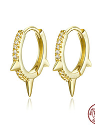 cheap -Gold Color Punk Ear Hoops Sterling Silver 925 Gear Hoop Earrings for Women and Men Zirconia Hiphop Jewelry BSE23168