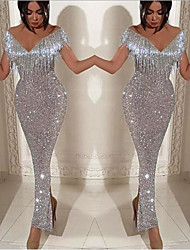 cheap -Sheath / Column V Neck / Off Shoulder Ankle Length Sequined Sexy / Elegant Formal Evening Dress 2020 with Sequin / Tassel