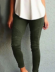 cheap -Women's Street chic Slim Pants - Solid Colored High Waist Cotton Black Wine Army Green XS S M