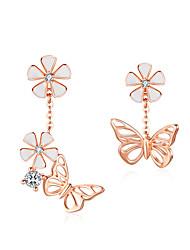 cheap -Butterfly and Flower Earrings S925 Enamel Floral Asymmetry Dangle Earring 925 Sterling Silver Engagement Jewelry