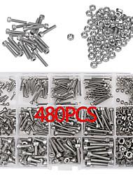 cheap -480pcs m2 m3 m4 304 stainless steel hex socket head cap screws nut kit set + box