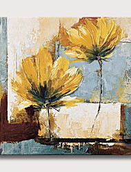 cheap -Oil Painting Hand Painted - Abstract Floral / Botanical Modern Rolled Canvas