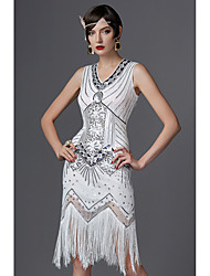 cheap -The Great Gatsby Charleston Roaring 20s 1920s Sparkle & Shine Flapper Dress Party Costume Masquerade Cocktail Dress Women's Sequins Tassel Fringe Costume Golden / Red / White Vintage Cosplay Party
