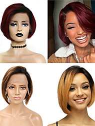 cheap -Remy Human Hair 13x6 Closure Wig Bob Side Part style Brazilian Hair Straight Wig 150% Density Women Best Quality New New Arrival Hot Sale Women's Short Human Hair Lace Wig Human Hair Extensions Ombre