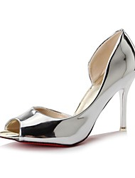 cheap -Women's Heels Stiletto Heel Peep Toe Faux Leather / Patent Leather Casual / Minimalism Walking Shoes Spring &  Fall / Spring & Summer Black / Champagne / Silver / Daily / 3-4