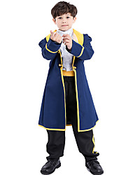 cheap -Prince Cosplay Costume Outfits Masquerade Boys' Movie Cosplay Cosplay Halloween Ink Blue Coat Blouse Pants Halloween Carnival Masquerade Polyster / Belt / Belt